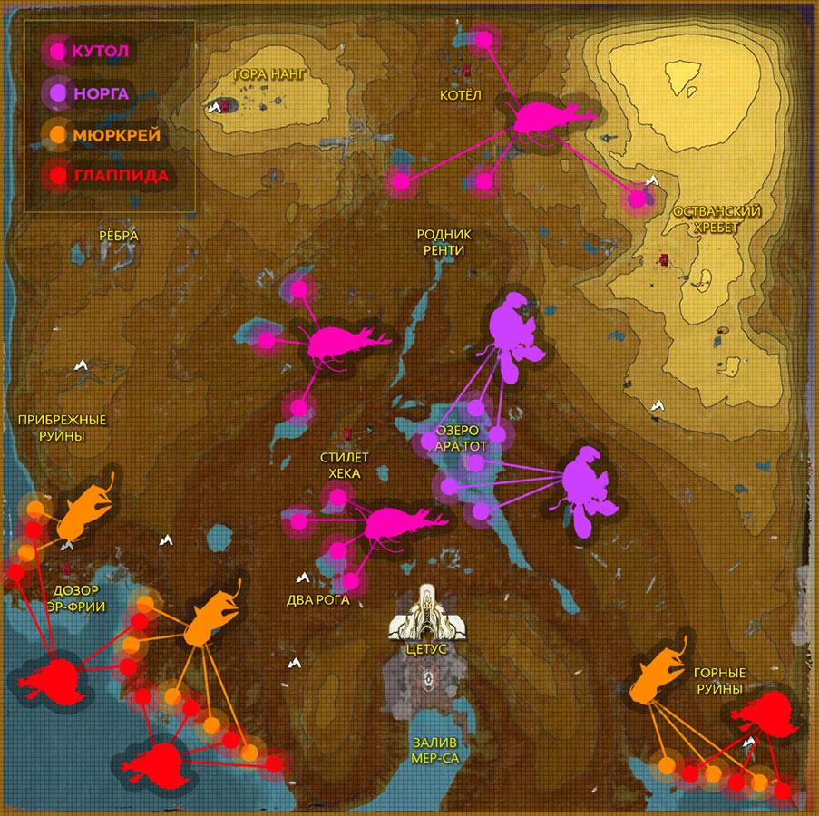 Карта редких рыб Цетуса